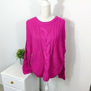 3/15 One A Mixed Knit Chunky Cable Crew Sweater
